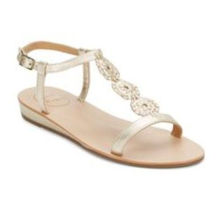 NWT 7.5 EVE GOLD/WHITE JACK ROGERS T STRAP SANDALS